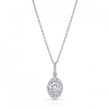 Uneek Petals Design Round Diamond Pendant in 14K White Gold - LVN941