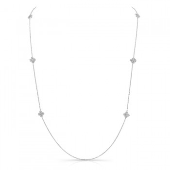 Uneek Diamonds-by-the-Yard Necklace with Quatrefoil Cluster Stations, 18K White Gold