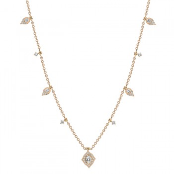 Uneek Round Diamond Necklace, in 18K Rose Gold
