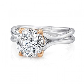 "Round Diamond Solitaire Engagement Ring with High Polish White Gold ""Silhouette"" Shank and Rose Gold Accents, from Uneek"