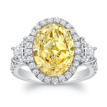 Uneek Oval Fancy Yellow Diamond-Center Three-Stone Engagement Ring