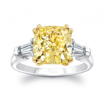 Uneek Three-Stone Ring with 5-Carat Cushion-Cut Fancy Yellow Diamond Center and Tapered Baguette Sidestones, Platinum & 18K Yellow Gold