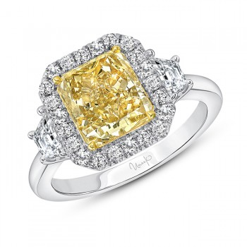 Uneek Radiant Fancy Yellow Engagement Ring, in 18K White Gold