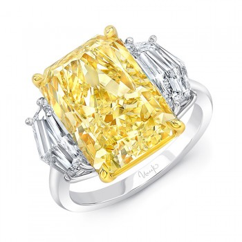 Uneek Radiant Fancy Light Yellow Diamond Engagement Ring, in Platinum