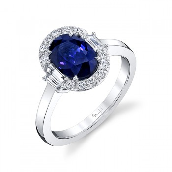 Uneek Oval Blue Sapphire Engagement Ring, in 18K White Gold
