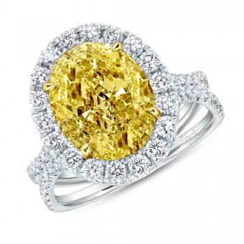 Uneek Oval Fancy Yellow Diamond Engagement Ring, in 18K White Gold