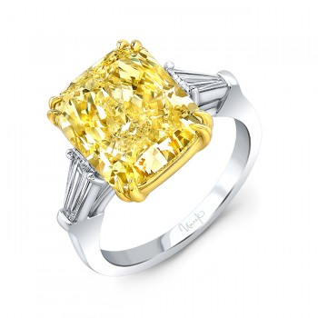 Uneek 7.31 Carat Cushion Cut Fancy Yellow Diamond Engagement Ring, in Platinum