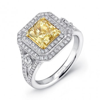 Uneek Natureal Yellow Radiant Diamond Engagement Ring LVS385
