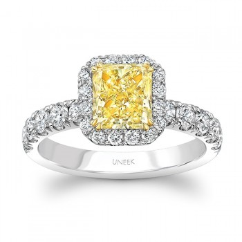 Uneek Radiant-Cut Yellow Diamond Halo Ring, Platinum and 18K Yellow Gold