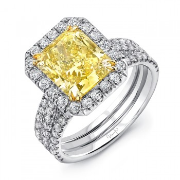Uneek LVS871RADFY Radiant Fancy Yellow Diamond Ring