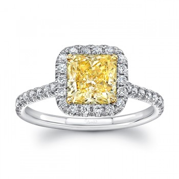 Uneek Radiant-Cut Fancy Yellow Diamond Halo Ring, in Platinum and 18K Yellow Gold