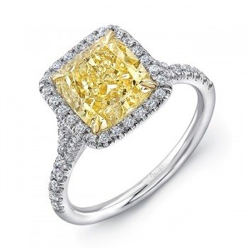 Uneek Cushion-Cut Yellow Diamond Halo Engagement Ring with Split Upper Shank, in Platinum and 18K Yellow