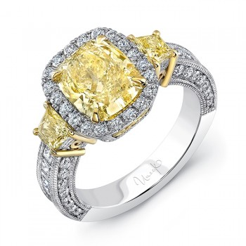Uneek LVS967 Estate-Inspired Cushion Fancy Yellow Diamond Three-Stone Ring