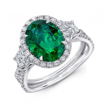 "Uneek Three-Stone Ring with Oval Green Emerald Center and Pave ""Silhouette"" Shank"