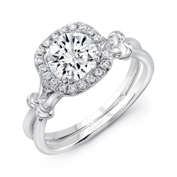Round Diamond Silhouette Engagement Ring with Cushion-Shaped Halo, Secret Bezel Diamonds, and Ribbon-Inspired Shoulder Accents