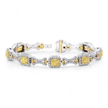 Natureal Collection Fancy Yellow and White Diamond Bracelet LBR170
