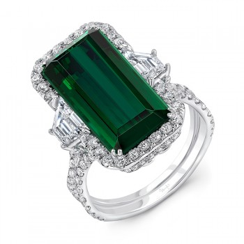 Uneek Indicolote Tourmaline Engagement Ring in 18K White Gold - R012TRU