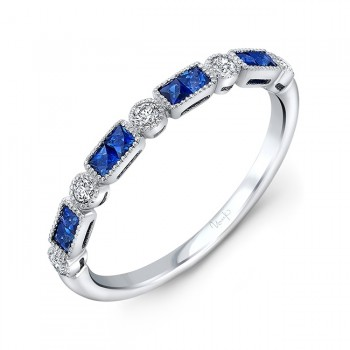 Uneek Princess Cut Blue Sapphire and Diamond Fashion Ring, in 14K White Gold