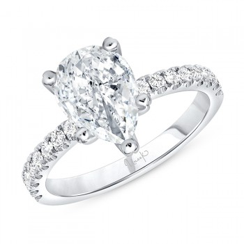 Uneek Pear Shaped Diamond Engagement Ring, in 14K White Gold