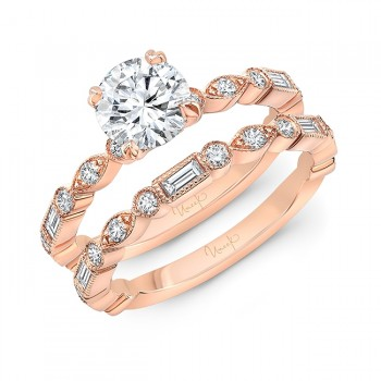 Uneek Us Round Diamond Engagement Ring and Wedding Band, in 14K White Gold - SWUS1969R-6.5RD