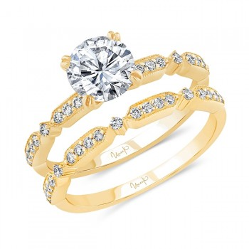 Uneek Round Diamond Bridal Set with Milgrain-Trimmed Pave Bars, Yellow Gold, Ring
