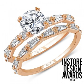 Uneek Round Diamond Bridal Set with Tapered Baguette Diamond Accents, Rose Gold