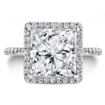 Uneek 4-Carat Princess-Cut Diamond Halo Ring, Platinum