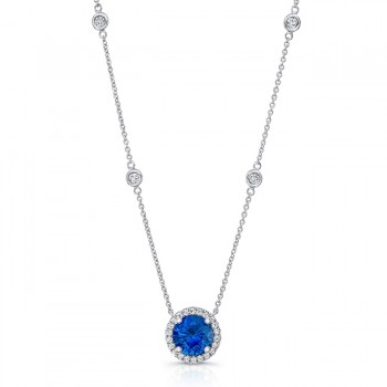 Uneek Round Blue Sapphire Pendant with Round Diamond Halo, 18K White Gold