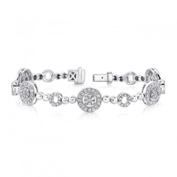 Uneek Diamond Bracelet with Round Halos and Bead Motif, 14K White Gold