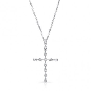 Uneek Petite Cross Pendant with 0.15 Carats of Diamonds, 14K White Gold