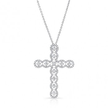 Uneek Openwork Diamond Cross Pendant, 14K White Gold