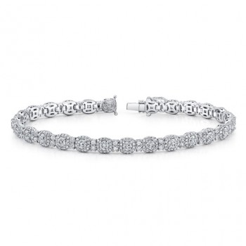 Uneek Round-Diamond-on-Cushion-Halo Bracelet, 18K White Gold