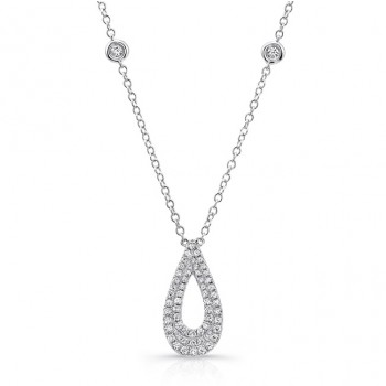 Uneek 14K White Gold and Round Diamond Pendant LVNW2698