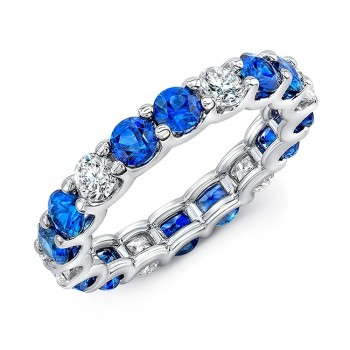 Uneek Round Blue Sapphire and Round Diamond Eternity Band in 18K White Gold