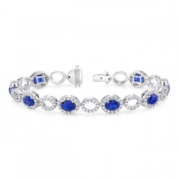 Uneek Oval Sapphire Bracelet with Diamond Halos