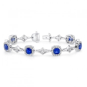 Uneek Cushion-Cut Sapphire Bracelet with Channel-Set Diamonds in Milgrain-Trimmed Rhomboid Link