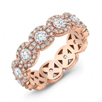 Uneek Round Diamond Eternity Band with Halo Details, Rose Gold