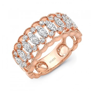 "Uneek ""Broderie Anglaise"" Open Lace Diamond Band in 18K Rose Gold"