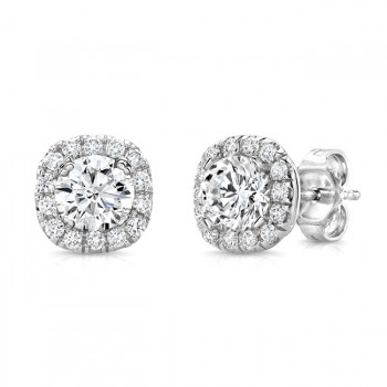 Round Diamond Stud Earrings with Cushion-Shaped Halos from Uneek