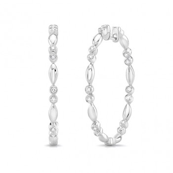 "Uneek ""Cahuenga"" Inside-Out Diamond Hoop Earrings, White Gold version"