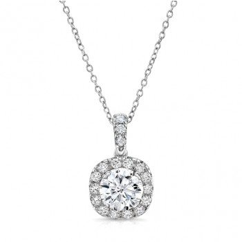 Round Diamond Pendant with Dainty Cushion-Shaped Halo from Uneek