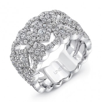 "Uneek ""Bedfordshire"" Open Lace Diamond Band, White Gold version"
