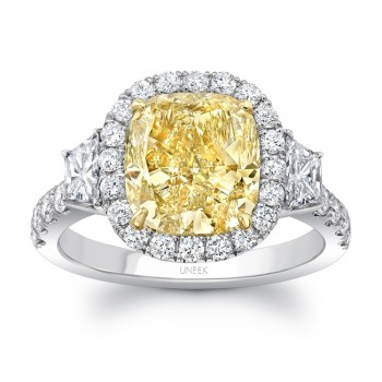 Uneek Contemporary Cushion-Cut Yellow Diamond Center Three-Stone Engagement Ring, in Platinum and 18K Yellow