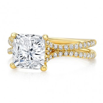 "3-Carat Cushion Diamond Engagement Ring with Pave ""Silhouette"" Double Shank from Uneek"