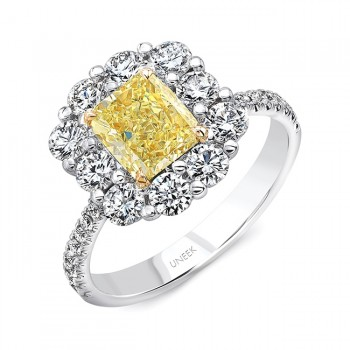 Uneek Radiant-Cut Yellow Diamond Engagement Ring with Floral-Inspired Shared-Prong Halo