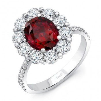 Uneek Oval Ruby Ring with Scallop-Style Diamond Halo and Tapered Shank