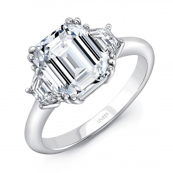 Uneek Platinum Three-Stone Ring with 3-Carat Emerald-Cut Diamond Center
