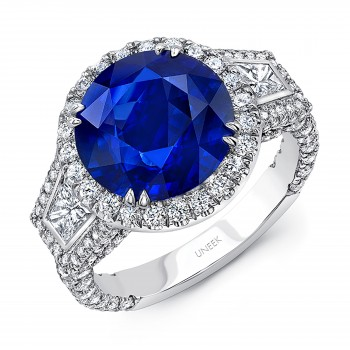 Uneek Round Blue Sapphire-Center Contemporary Three-Stone Ring