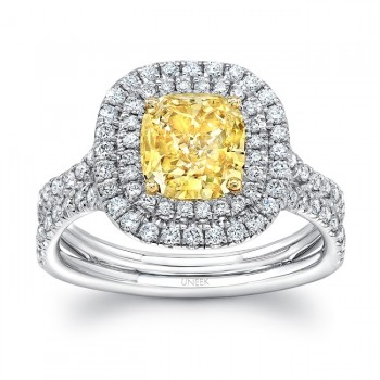 "Uneek Cushion-Cut Fancy Yellow Diamond Engagement Ring with Double Halo and ""Silhouette"" Shank"