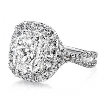"""Uneek LVS957 6-Carat Cuhsion-Cut Diamond Halo Engagement Ring with Pave """"Silhouette"""" Double Shank"""